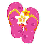 Flip Flop Sandals With Plumeria Flowers
