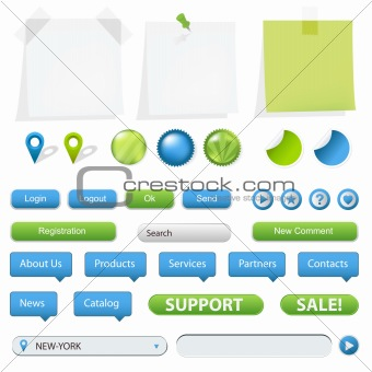 GPS Navigation Elements And Blank Note Papers