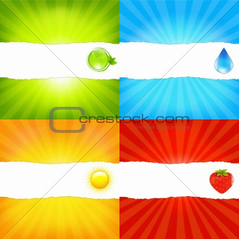 Sunburst Background Set With Paper And Beams