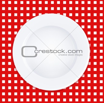 White Plate On Checkered Tablecloth