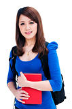 Cute female student holding her books