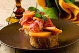 Ham and melon appetizer