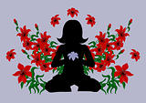 Meditating woman surrounded with red lilies