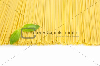Italian cooking / spaghetti with basil / isolated on white