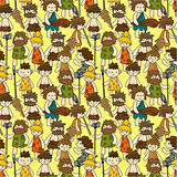 cartoon Caveman seamless pattern