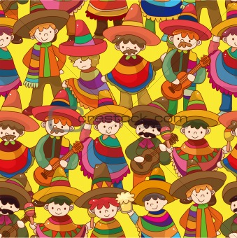 cartoon Mexican people seamless pattern,vector