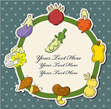 cartoon health fruit and vegetable card