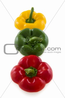 Three colorful pepper bell tops