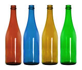 Empty colorful glass bottles