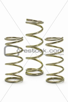 Three metal spring coils