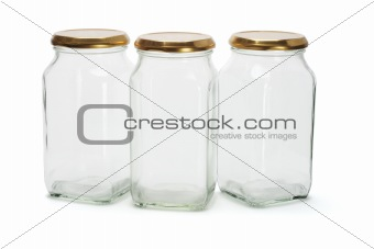 Three glass containers