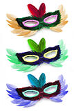 Three colorful  party face masks