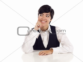 Attractive Smiling Mixed Race Young Adult Female At White Table Looking Up and Away Isolated on a White Background.