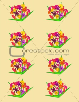 bouquets of flowers on a background