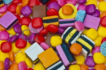 Assorted sweets with liquorice