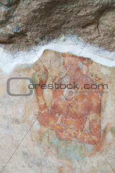 Ancient famous wall frescoes at Sigirya