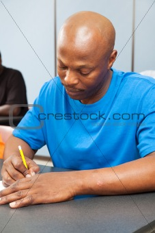 African American Student Taking Test