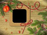 Vintage photo frames and Christmas tree