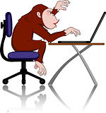 Chimpanzee with computer