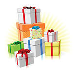 Pile of presents concept
