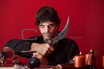 Warlock Holds an Athame