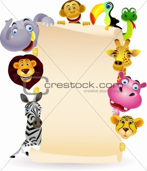 animal cartoon and blank sign