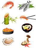 sushi and other traditional japanese food icons