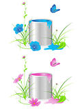 tin with a paint, flowers, green grass and butterfly