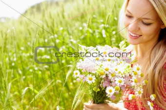 Female with bouquet