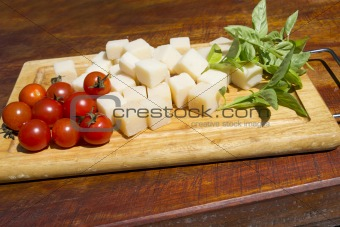 tomatoes, parmisan and basil
