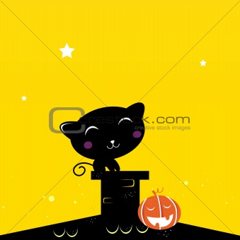 Black Halloween cat silhouette on the roof during dark night