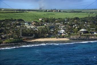 Houses on Maui coast.