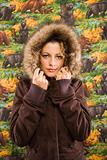 Woman in winter coat.