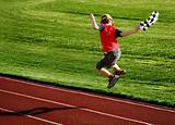 Boy on a racetrack