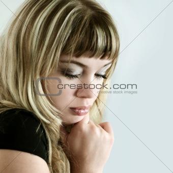 Blond sad girl