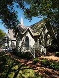Chapel in trees.