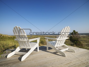 Deck chairs at beach.