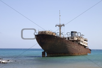 Wrecked ship in Lanzarote