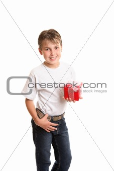 Child holding Christmas gift