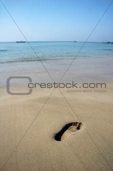Footprint on A Beach