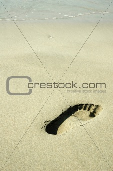 Footprint on A Beach