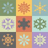 Snowflakes in vintage colors scheme. Vector format