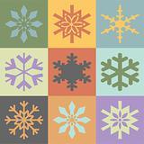Snowflakes in vintage colors scheme. Vector format
