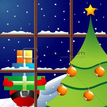 Christmas night through window