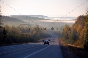 An autumn's landscape with fog