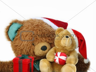 Teddy bear family at Christmas