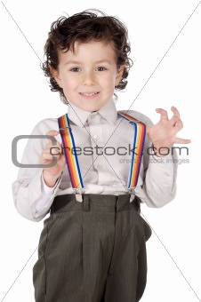 Boy with suspenders