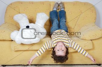 Boy and teddy bear