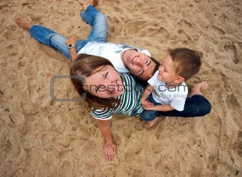 Funny picture of happy young family