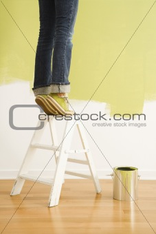 Woman on ladder painting.
